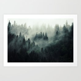 Misty pine fir forest landscape in hipster vintage retro style Art Print