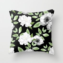 Gardenias & Anemones Throw Pillow
