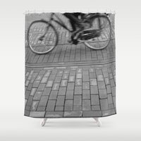 cycling Shower Curtains featuring cycling in the city by habish