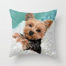 Chewie the Yorkie Throw Pillow