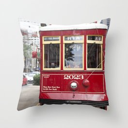 New Orleans 2023 Canal Streetcar Throw Pillow