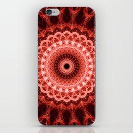 Mandala in deep red tones iPhone Skin