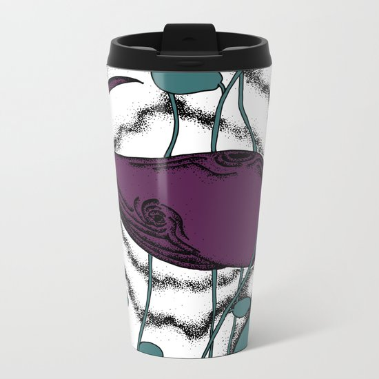 Space whale floating in space illustration pale blue purple Metal Travel Mug