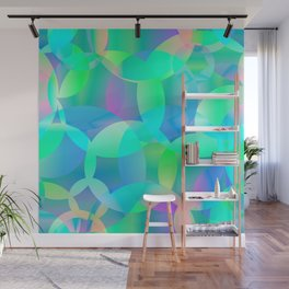 Abstract soap of blue molecules and bubbles on a shiny background. Wall Mural