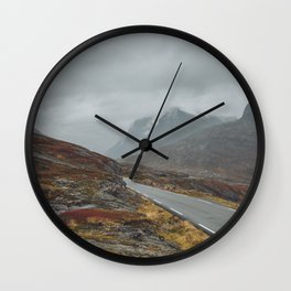Road to misty mountains Wall Clock