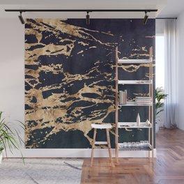 24-Karat Gold Veins on Indigo Blue Suede Marble Wall Mural