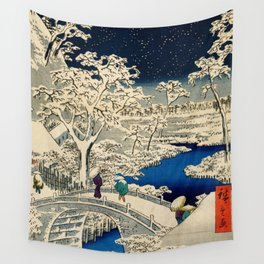 Ukiyo-e, Ando Hiroshige, Yuhi Hill and the Drum Bridge at Meguro Wall Tapestry