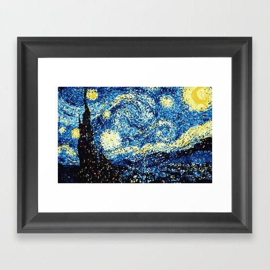 8-Bit Stary Night Framed Art Print
