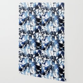 Blue sapphire and opal marbled abstract Wallpaper
