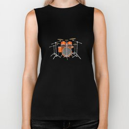 Orange Drum Kit Biker Tank