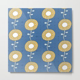 yellow sunflowers on blue  Metal Print