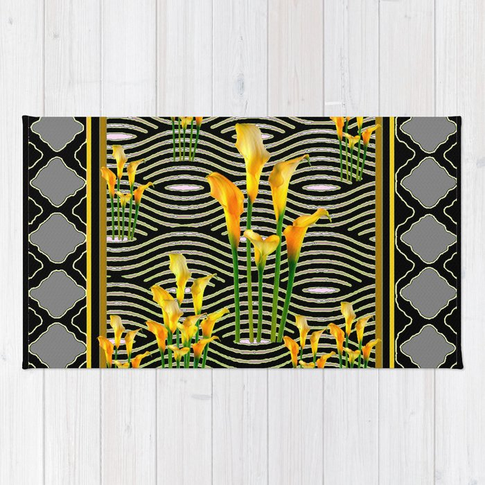 Golden Calla Lilies Black-Grey Harlequin Art Rug