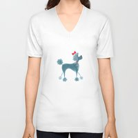 poodle V-neck T-shirts featuring Poodle by Cathy Brear