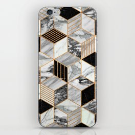 Marble Cubes 2 - Black and White iPhone Skin
