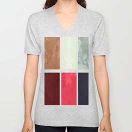 Mixed color Poinsettias 1 Abstract Rectangles 1 Unisex V-Neck