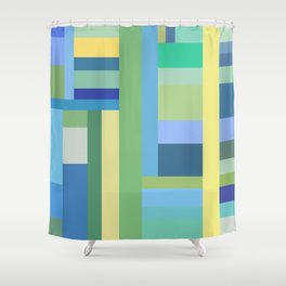 Abstract Blue Mint Green Geometry Shower Curtain