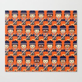 Super cute sports stars - Ice Hockey Orange and Blue Canvas Print