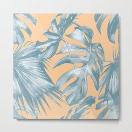 Island Vacation Hibiscus Palm Mango Ocean Blue Metal Print