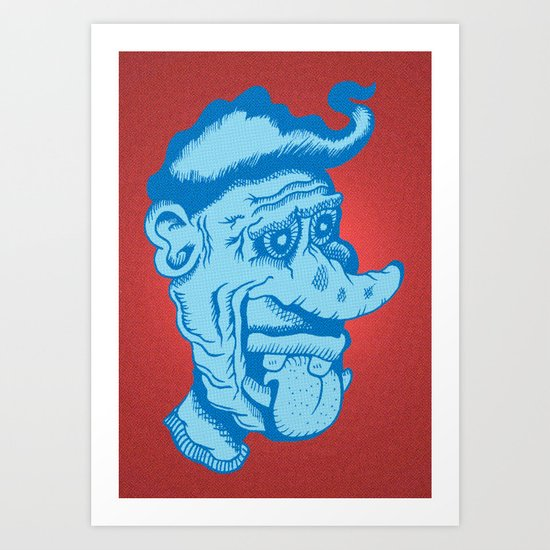Monster Greaser in Blue Art Print