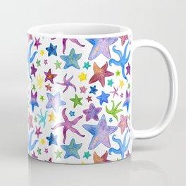 Rainbow Watercolor Starfish Pattern - White Coffee Mug