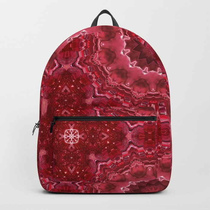 Crimson kaleidoscope.  Christmas  mandala . Backpack