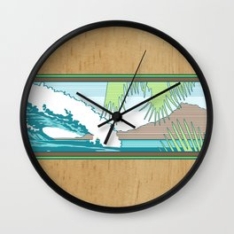 Ala Moana Diamond Head Hawaiian Surf Sign Wall Clock