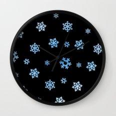 Snowflakes (Blue & White on Black) Wall Clock