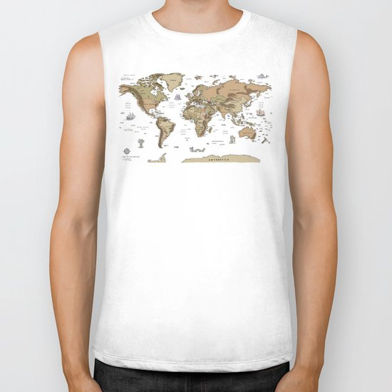 World Treasure Map Biker Tank
