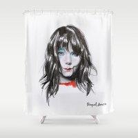 bjork Shower Curtains featuring Bjork Portrait by Raquel García Maciá
