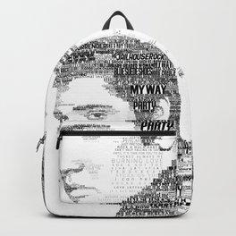 King of Rock Elvis Presley Typography Portrait Backpack