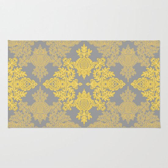 Golden Folk - doodle pattern in yellow & grey Rug