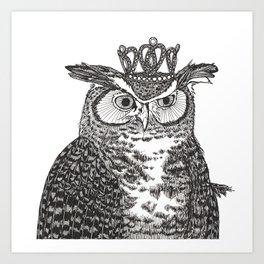 Great Horned Owl Wearing a Glittering Crown Art Print