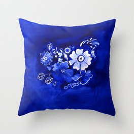 Delft Floral Throw Pillow