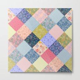 Bohemian patchwork quilt large scale  Metal Print