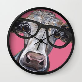 Cow Art, Colorful Cow With Glasses Art. Wall Clock