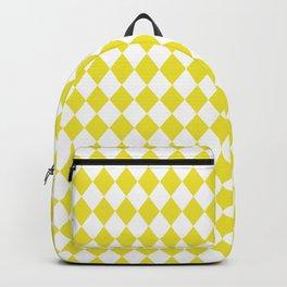 Highlighter Yellow Modern Diamond Pattern on White Backpack