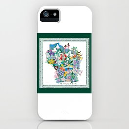 Wisconsin Wildflowers with border iPhone Case