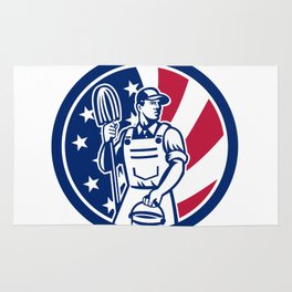 American Professional Cleaner USA Flag Icon Rug