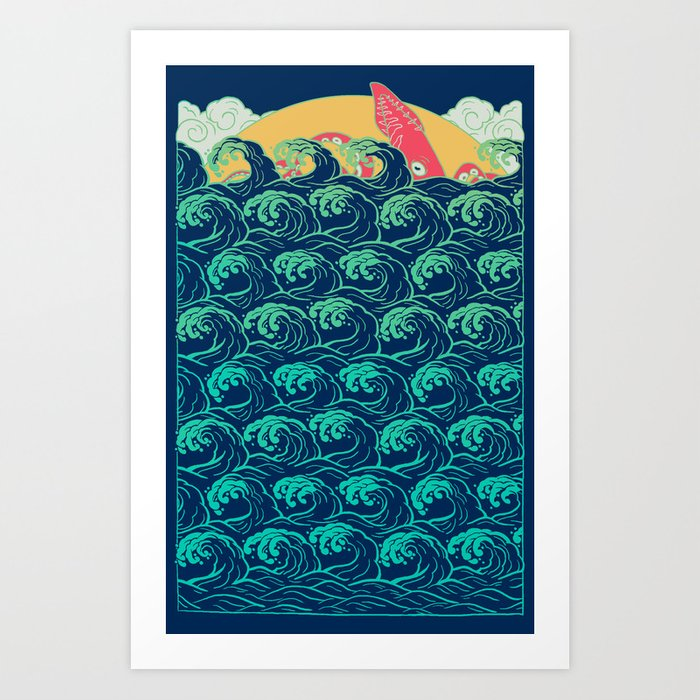 Squid on the waves Art Print