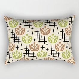 Mid Century Modern Space Flower Pattern Brown and Chartreuse Rectangular Pillow