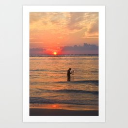 Sunset Crabbing Art Print