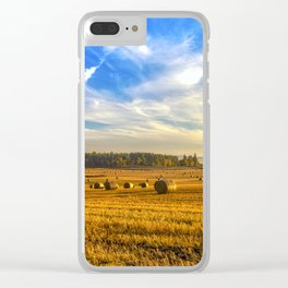 Hay Bales in Autumn Sun Clear iPhone Case