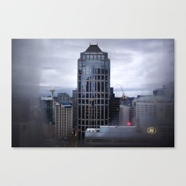 Seattle Skyline and Space Needle on a Cloudy Day Canvas Print