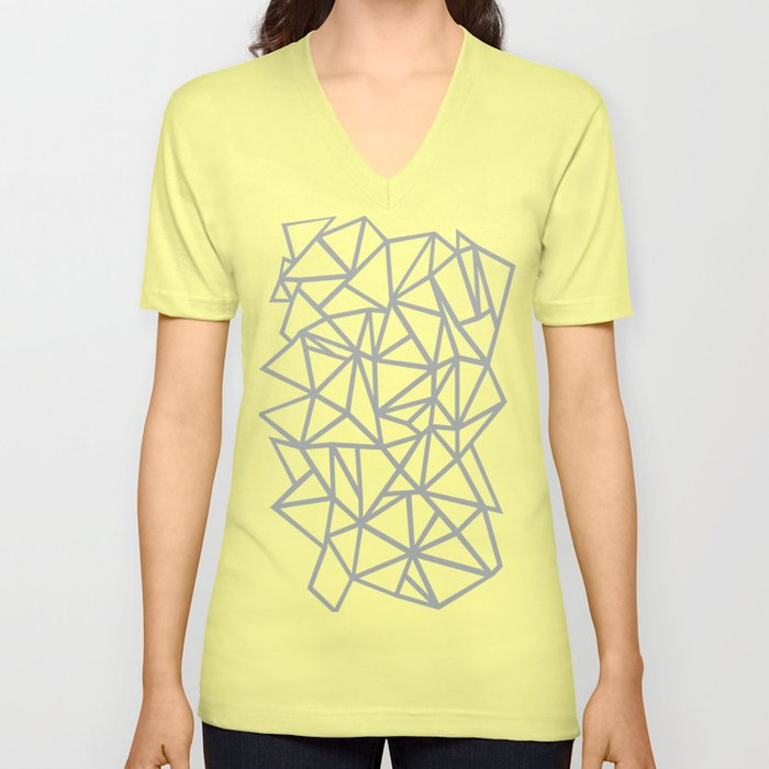 f113a5b93b46 Abstract Outline Thick White on Grey Unisex V-Neck by projectm ...
