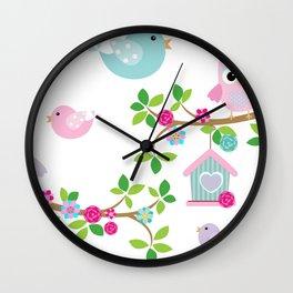 Búhos, Pájaros y  ramas de arboles Wall Clock