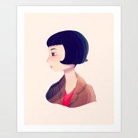 amelie Art Prints featuring Amelie by Nan Lawson