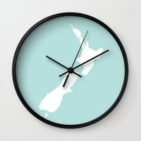 new zealand Wall Clocks featuring NEW ZEALAND by EDENLAND