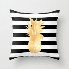Gold Pineapple Black and White Stripes Throw Pillow
