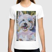 westie T-shirts featuring Westie Impressionism Pet Portrait Larsen 1 by Karren Garces Pet Art