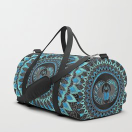 Egyptian Scarab Beetle - Gold and Blue glass Duffle Bag
